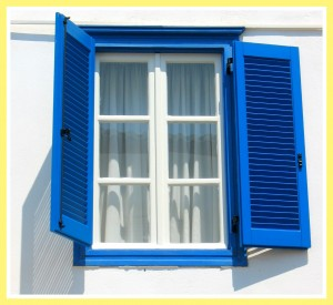 blue shuttered window